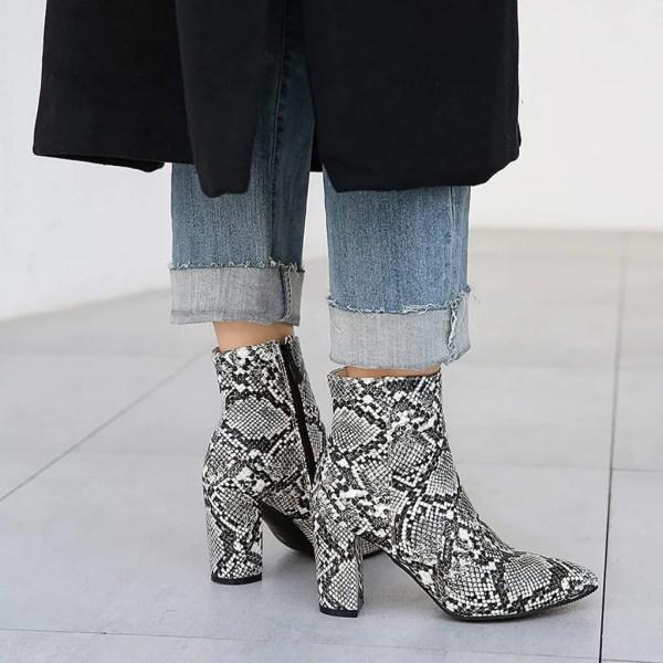 Lizzhen Women Pointed Toe Fashion Snakeskin Block Heels Chelsea Ankle Boots Zip