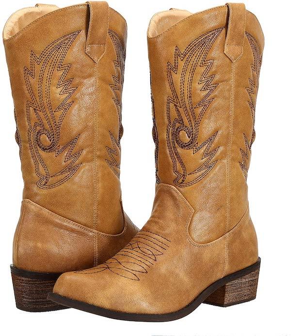 SheSole Ladies Wide Calf Western Cowgirl Cowboy Boots