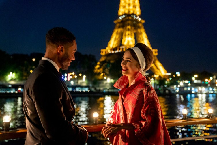 Lily Cole in Emily in Paris and suited man