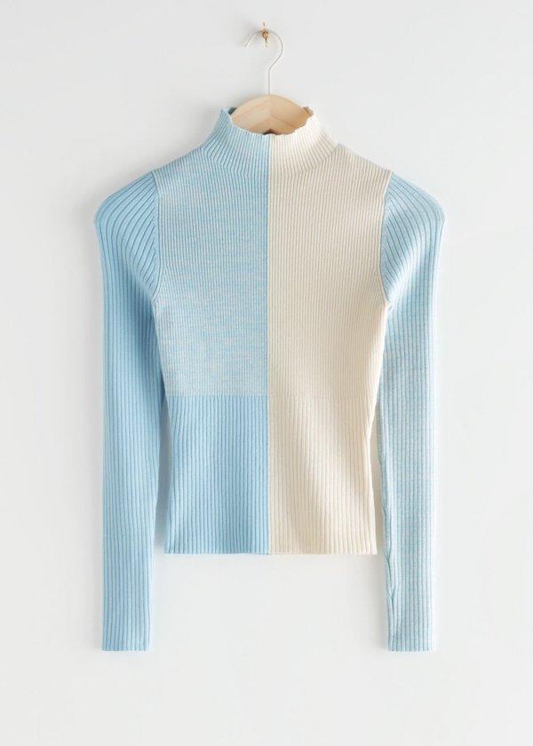 Colour Block Rib Sweater
