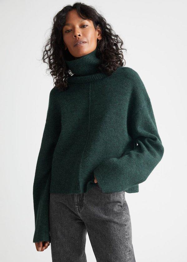Cropped Turtleneck Knit Sweater