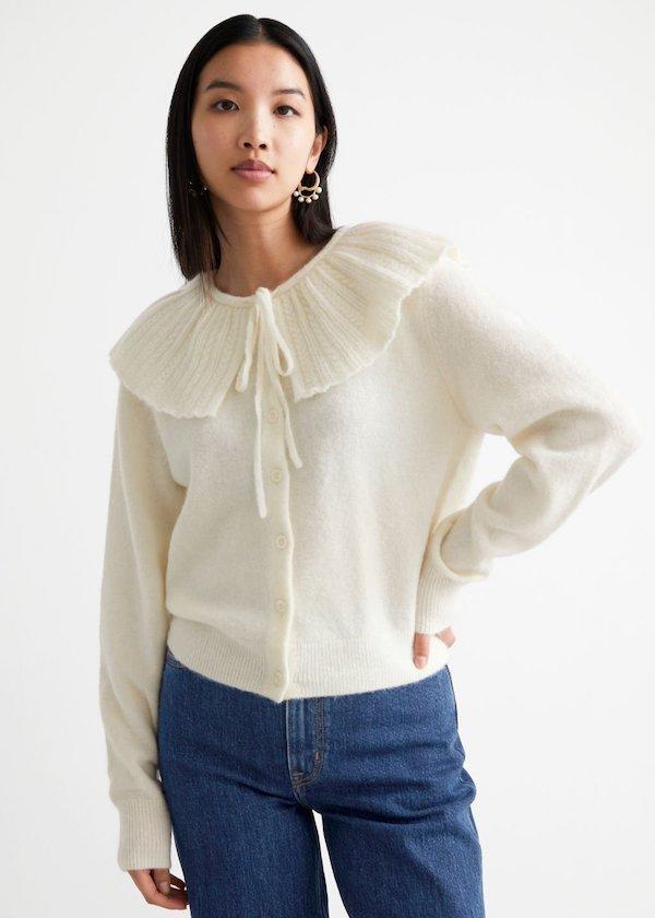 Statement Collar Knit Cardigan