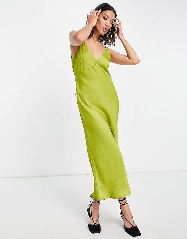 Open Back Satin Slip Dress Topshop