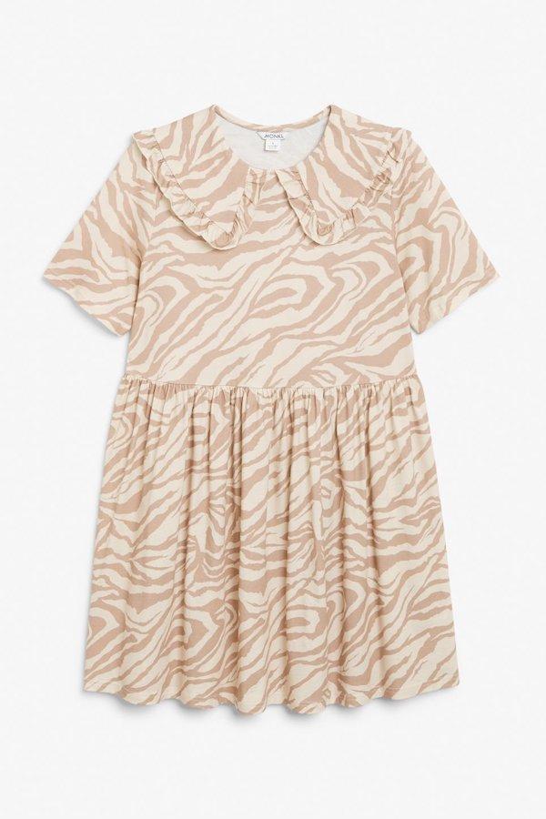 Monki Peter Pan Collar Animal Print Dress