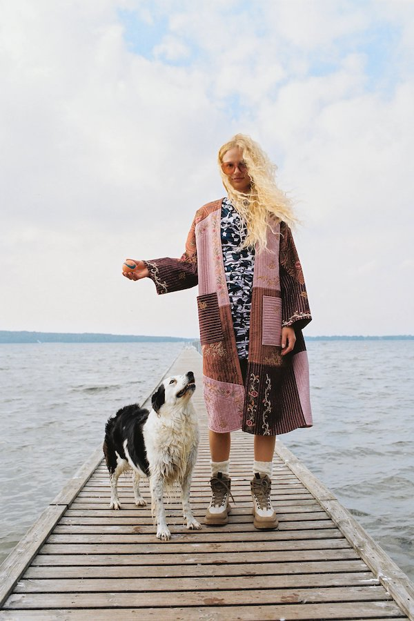 woman wears Embroidered Patchwork Kimono Coat from zara