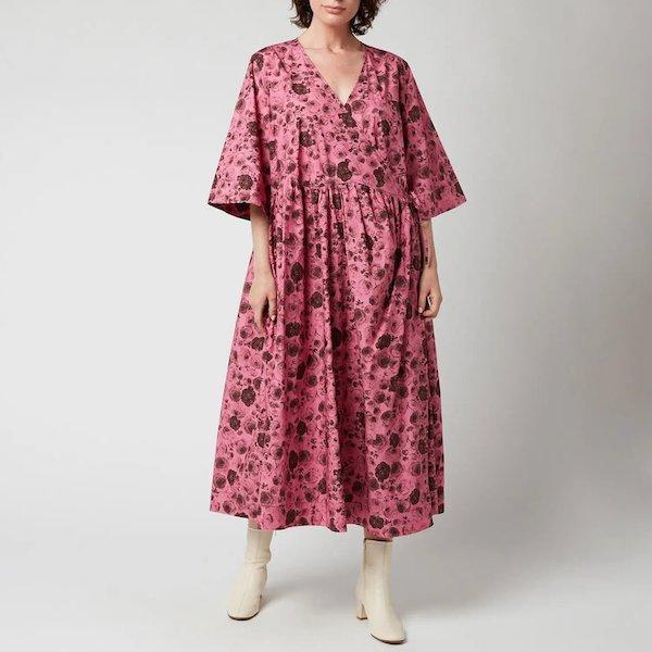 Printed Cotton Poplin Dress Ganni at Coggles