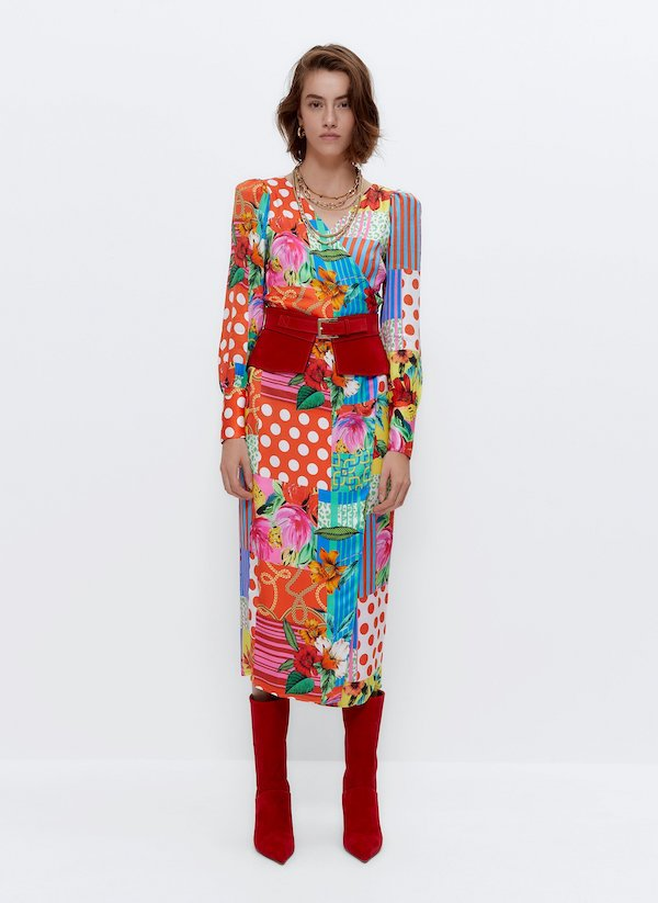 Floral Patchwork Wrap Dress Uterque