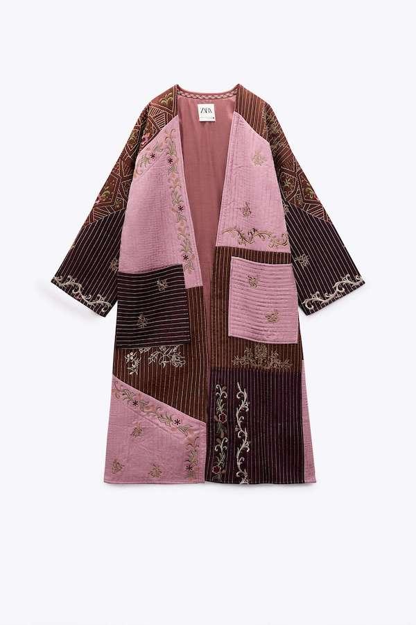 Zara Embroidered Patchwork Kimono Coat