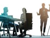 illustration of woman leading meeting