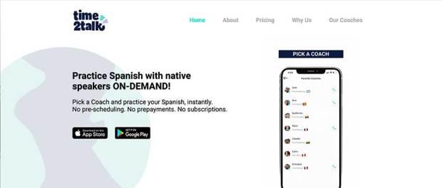 Time2Talk-hpmepage-screenshot---practice-spanish-speaking-online-app