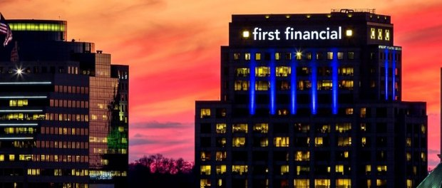 First-Financial-Bank-building-sunset