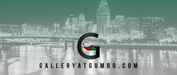 GalleryatGumbo.com logo over top of a Cincinnati, Ohio skyline