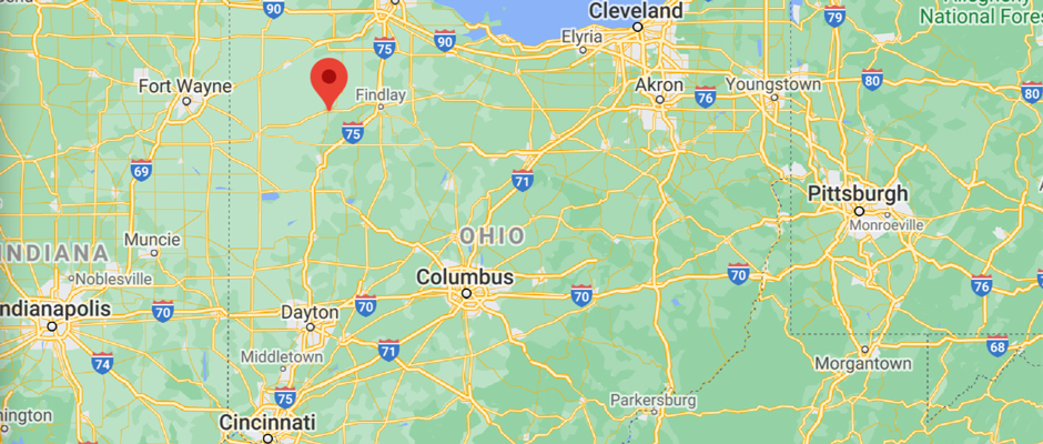 map of the midwest/eastern states highlighting a pinpoint at Ottawa, Ohio
