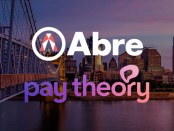 Abre logo and Pay Theory logo set against Cincinnati skyline