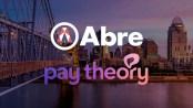 Abre logo and Pay Theory logo set against Cincinnati skyline