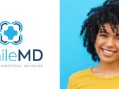 SmileMD logo and smiling cheerful woman
