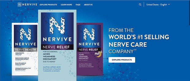 screenshot of homepage of Nervive product launched by Procter and Gamble