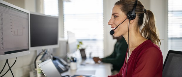 Woman working in a call center/technology field