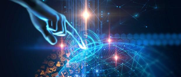 virtual human hand 3dillustration on technology background