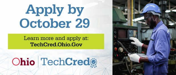 Apply by October 29 - Ohio TechCred - a black guy working on a machine in a factory
