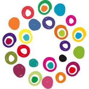 APTN brandmark comprised of multi-colour circles of various sizes