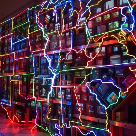 Electronic Superhighway: Continental U.S., Alasak Hawaii (1995) by Nam June Paik