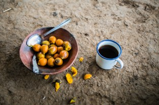 Boiled pijuayo (peach palm) and coffee for breakfast.