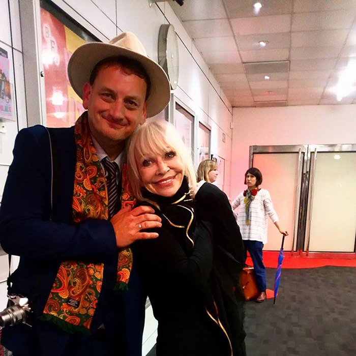 Katy Manning with We Are Cult's Robert Fairclough.