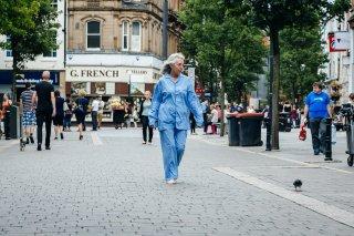 A woman walking in a street