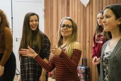 Three girls making faces