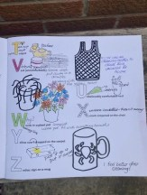 Letters of the alphabet with pictures drawn next to them. Made in response to poet Ian McMillan's House Alphabet activity.