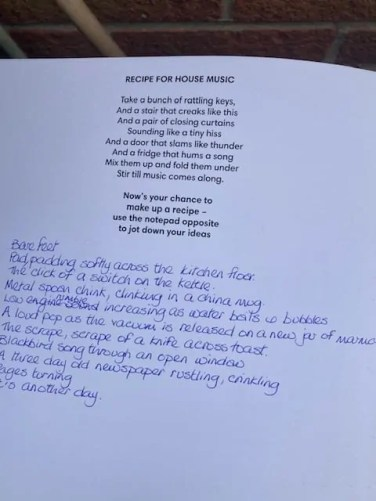 Recipe for House Music - one of the Creative Directions at Home activities produced by poet Ian McMillan.