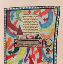 A drawing of a door, coloured in different colours. Made as part of the darts Creative Directions at Home project.