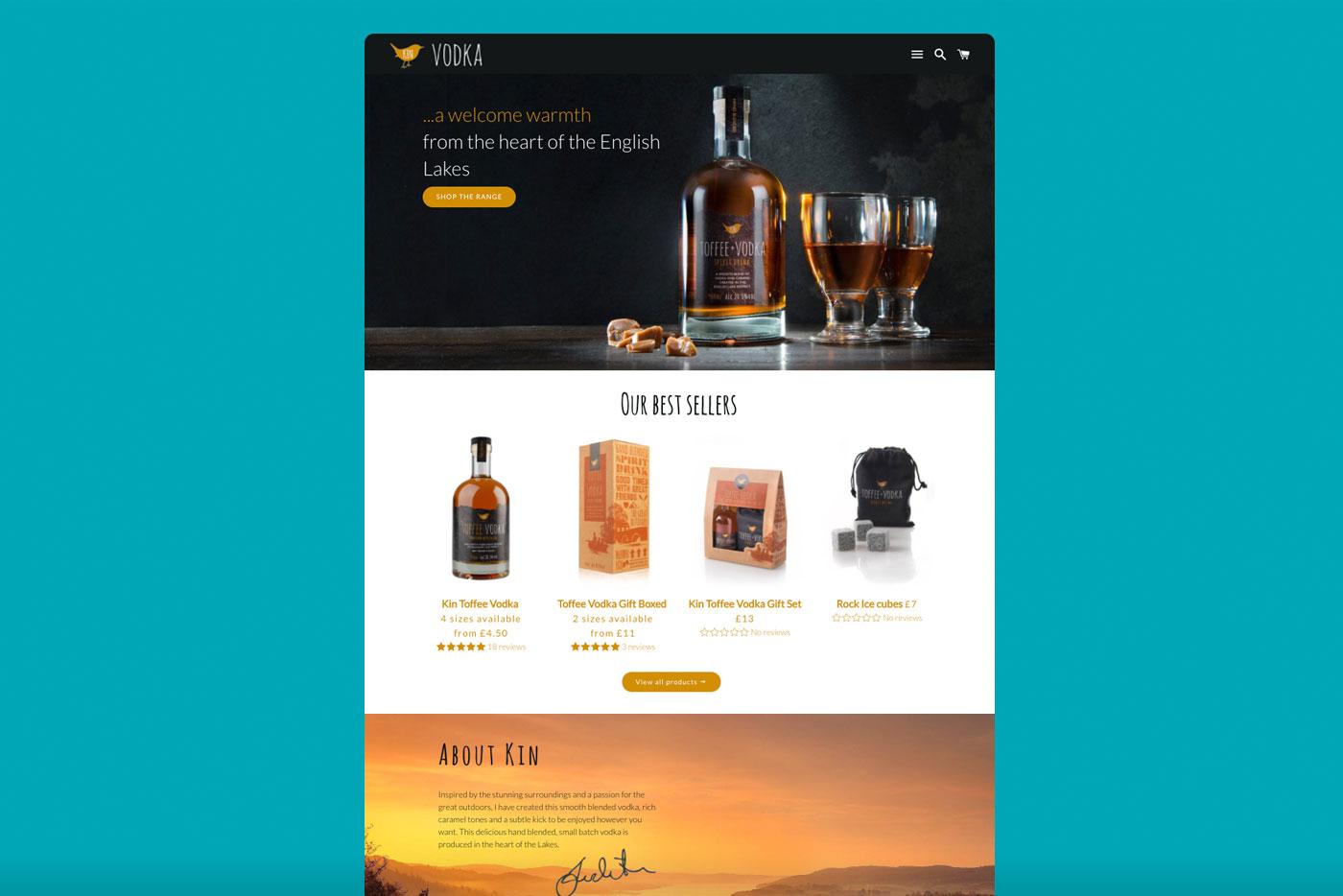 Website design for Kin Vodka Cumbria