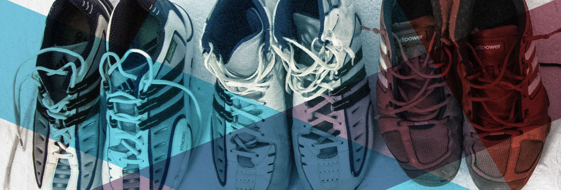 Cabecera de Adidas y las zapatillas de esgrima