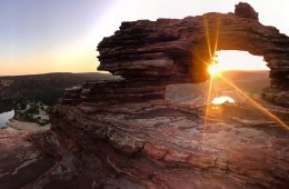 Sunrise At Nature's Window // Kalbarri National Park (WA), Tiffany Hulm, , rock formation, hole, sunrise, sunburst, hero