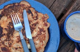 Apple And Cinnamon Pancakes // Camp Kitchen, Rachel Dimond, knife, fork, plate, breakfast, food, camping food, hiking food