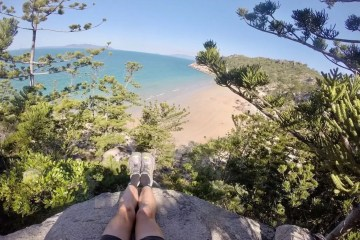 Tropical Trail Running // Yunbenun - Magnetic Island (QLD), Rowan Beggs-French, legs, lookout, view, beach, running shoes