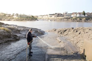 Hosing down the slipway