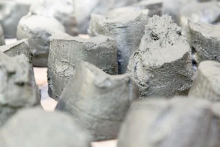 The mud prepared for sculpting