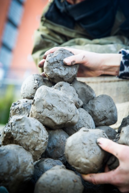 The clay is piled ready for sculpting
