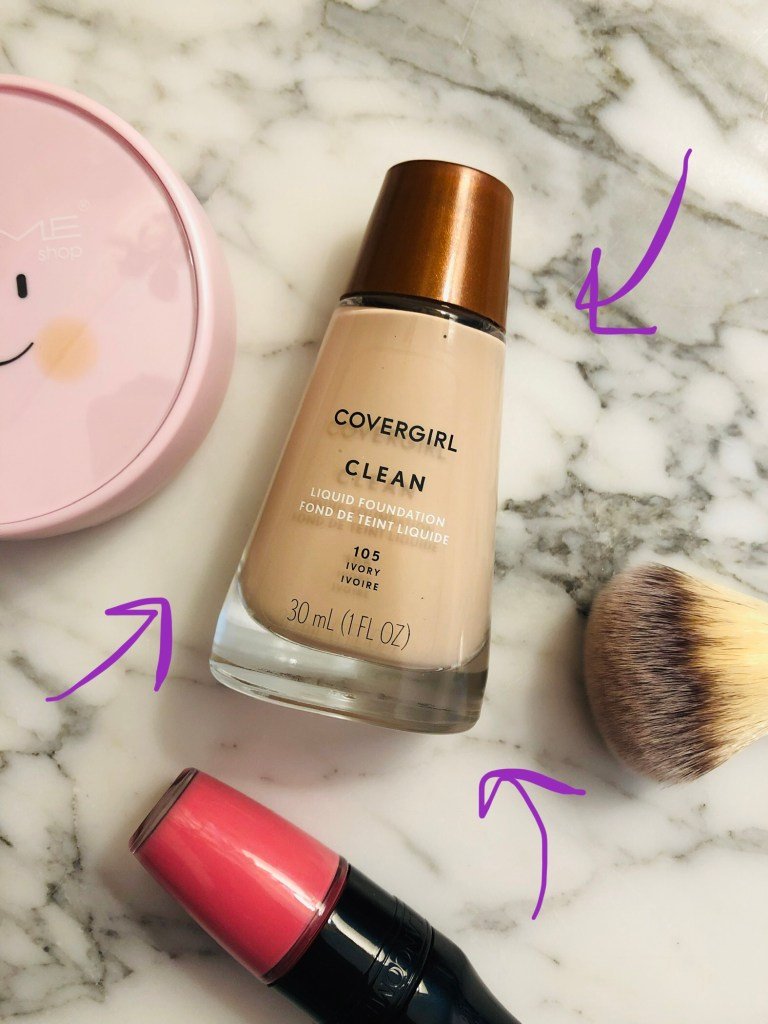 Flat-lay featuring CoverGirl Clean Liquid Foundation