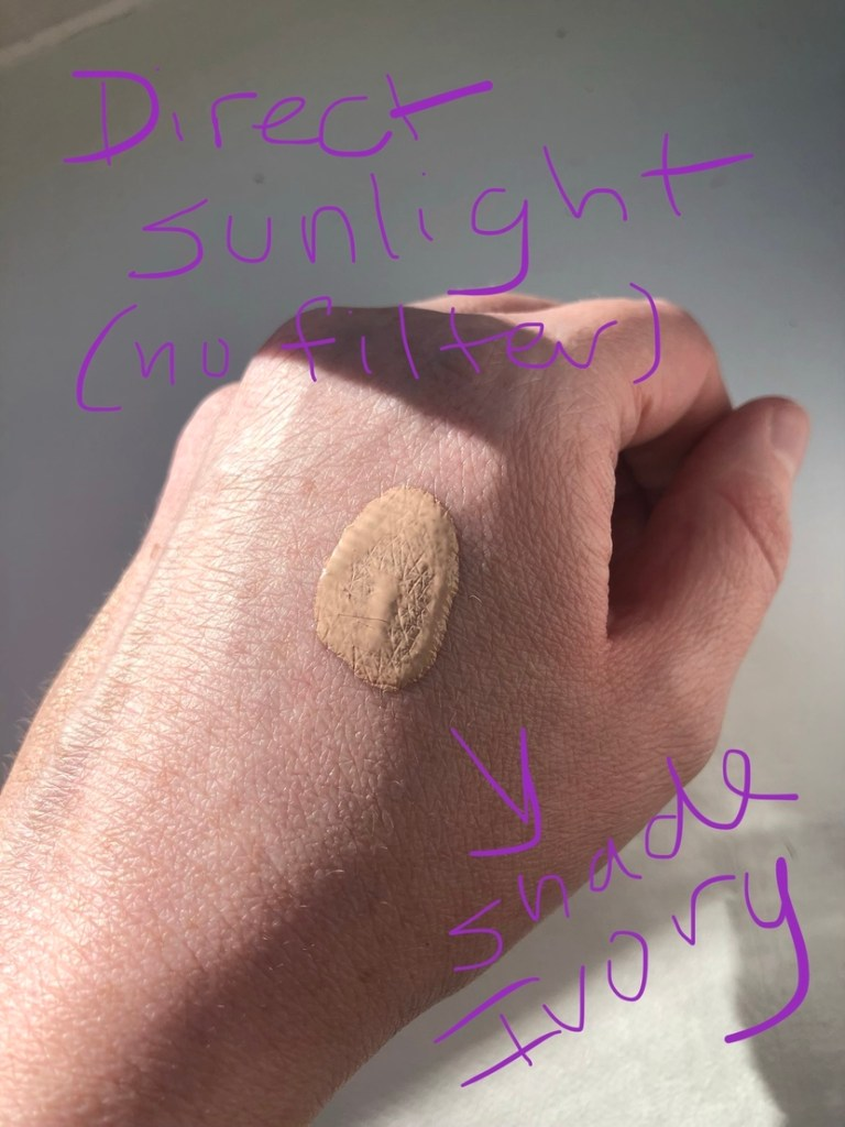 Swatch of CoverGirl Clean Liquid Foundation in the shade Ivory in direct sunlight