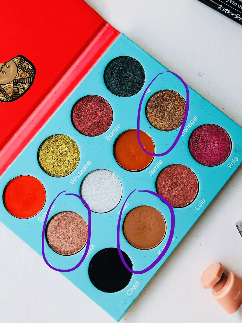 Juvia's Place Saharan Palette showing shades used in easy daytime look