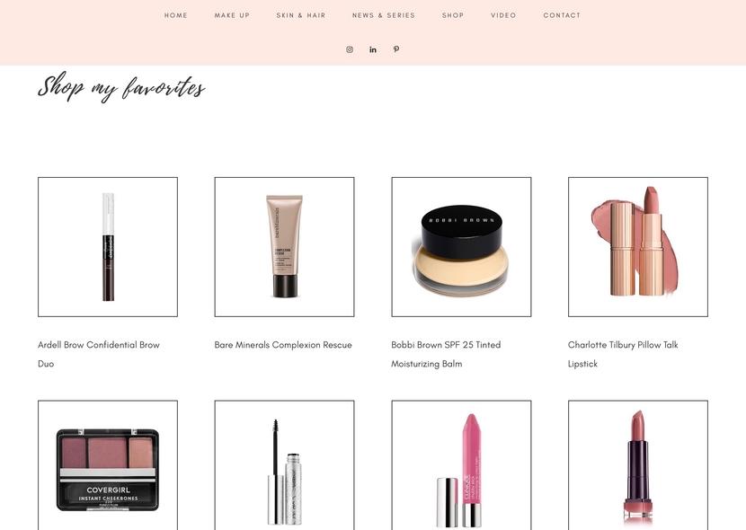 Screenshot of Shop page