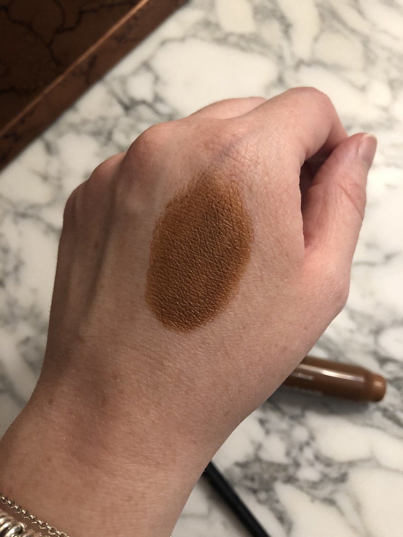 How I learned to use cream contour. Clinique Chubby Contour Stick in Curvy Contour, swatched on my hand.