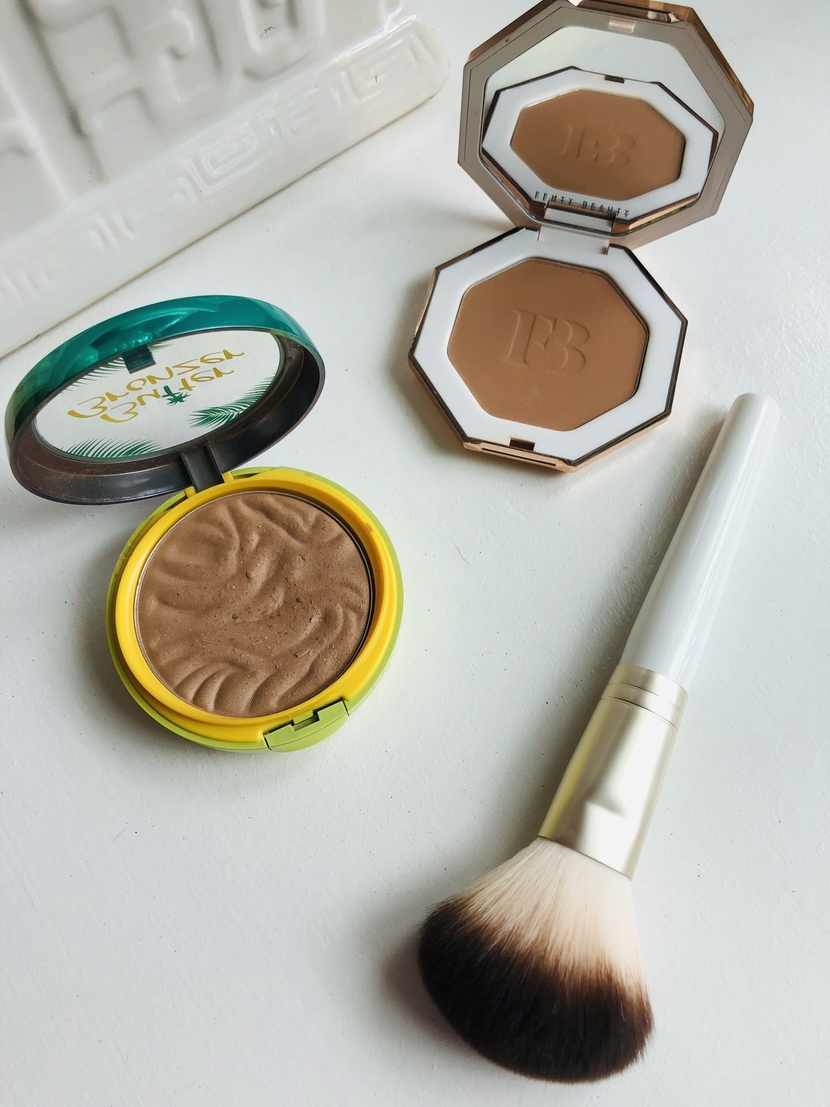 Fenty Beauty Sun Stalk'r in Shady Biz & Physician's Formula Butter Bronzer in Bronzer, with Joah Beauty Powder Brush