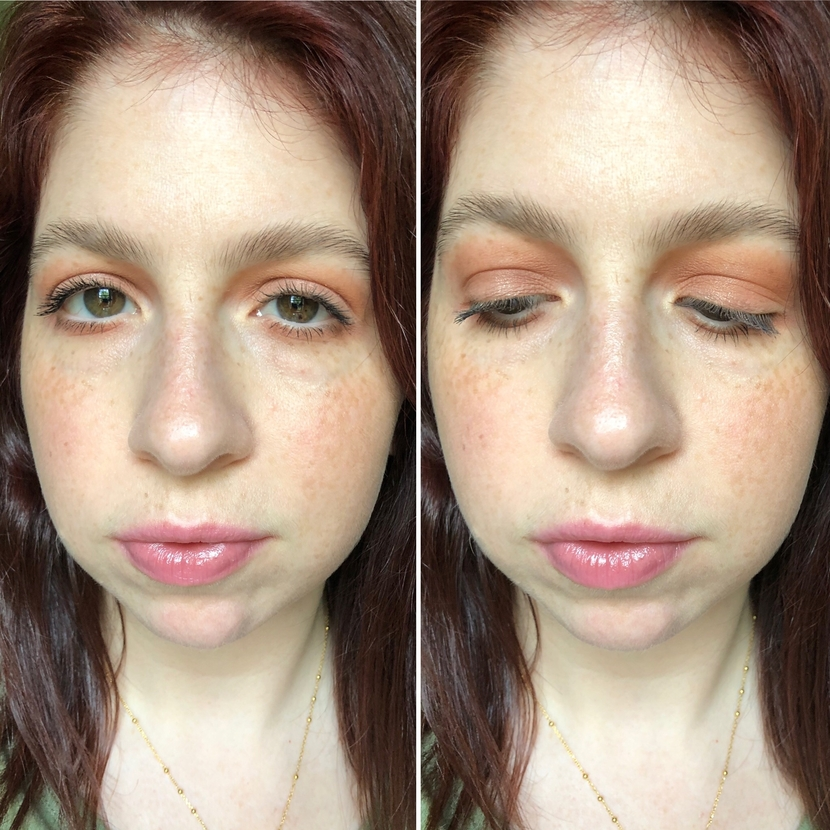 Side by side makeup look using Pillow Talk Palette on left eye, & Paradise Enchanted Palette on right eye.