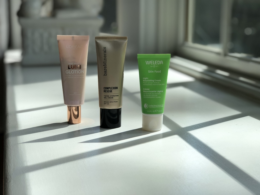 Lineup including L'Oreal Lumi Glotion, Bare Minerals Complexion Rescue & Weleda Skin Food Light
