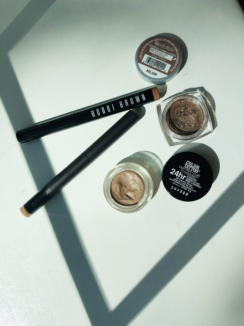 Stick & cream eyeshadows from Bobbi Brown, Laura Mercier, L'Oreal, & Maybelline - best sweat-proof makeup products for summer